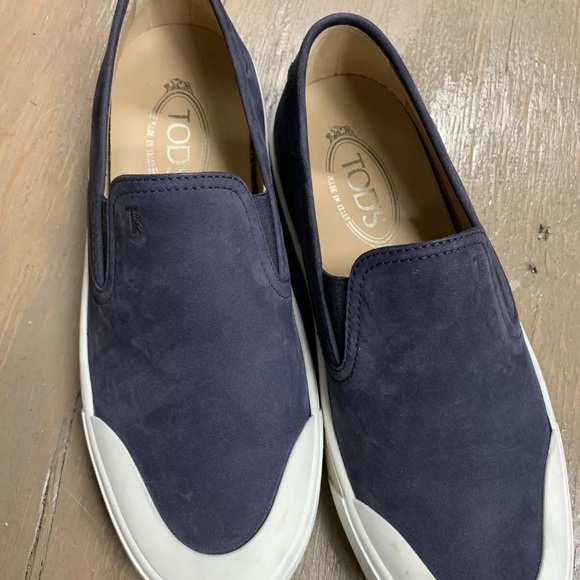 Shoes | Tods Blue Suede Slip Ons | Poshmark